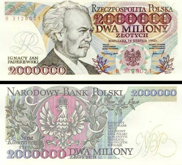 2 000 000 zlotych Poľsko 1992, P158b