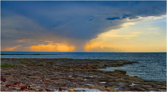 Offshore sunset downburst - Darwin Harbour, NT, Australia