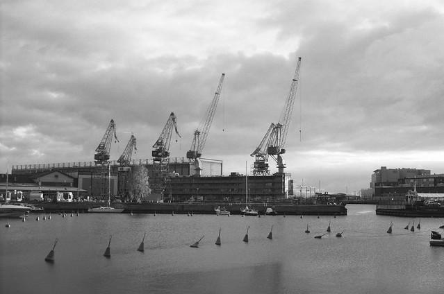 Shipyard cranes near the old sinebrychoff brewery -Helsinki, Finland