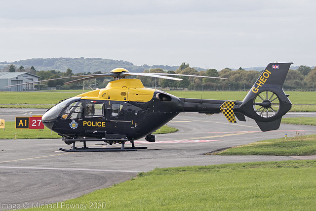 G-HEOI - 2009 build Eurocopter EC135 P2+, on a layover at Gloucester