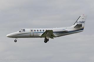 G-CMBC - 2000 build Cessna 550B Citation Bravo, on approach to Runway 27 at Gloucester