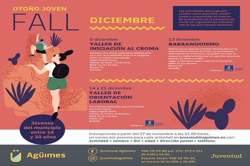 """Cartel de la programación """"Otoño Joven"""" de la Concejalía de Juventud del Ayuntamiento de Agüimes para el mes de diciembre"""