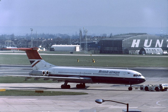 G-ASGR British Airways Super VC-10 being towed to the stand at London Heathrow