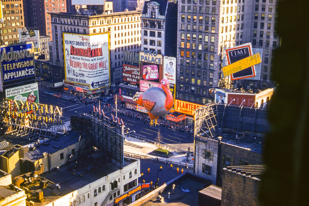 Happy Thanksgiving -- Turkey, Macy's Thanksgiving Day Parade 1959 -- Found Kodachrome Slide