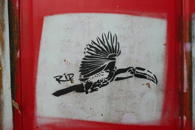 Rip stencil, Nomadic Community Gardens, Shoreditch