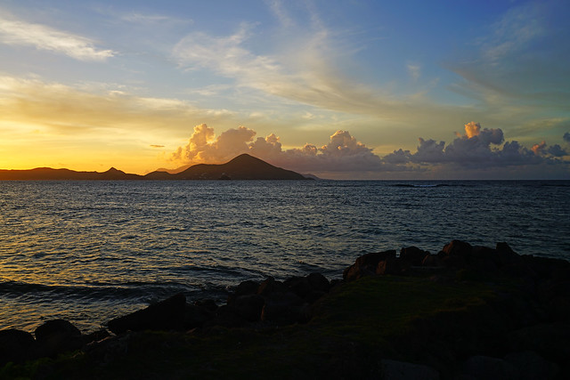 The Narrows at sunset from Newcastle Beach, St Kitts & Nevis