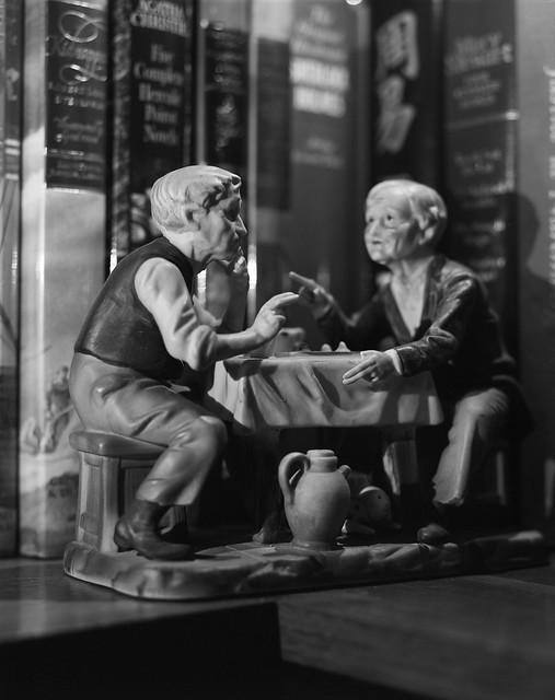 evening conversation on a book shelf