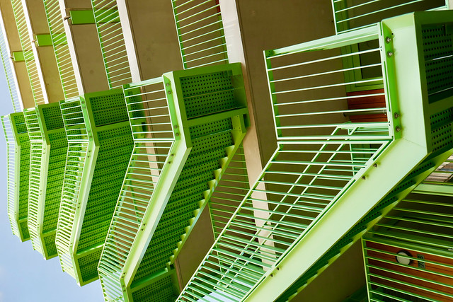 On Explore - Green steel stairs