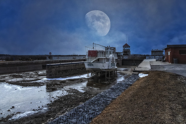 Moon over Lift Lock in March Composite
