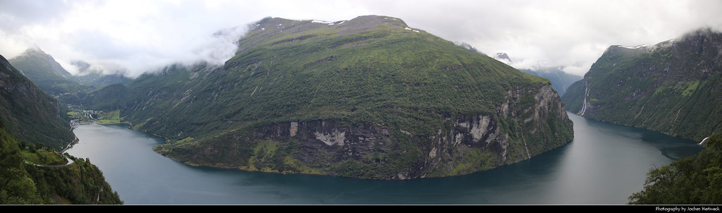 Panoramic view of Geirangerfjord from Ørnesvingen, Norway