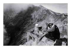 Prayer in front of the Bromo crater