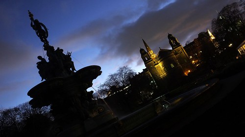 Fountain and Spires at Night 03