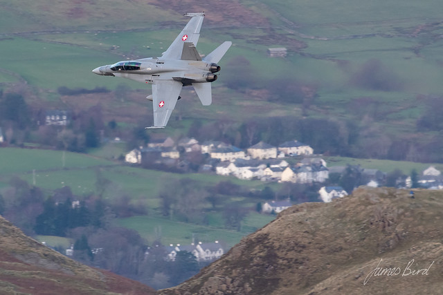 Swiss F/A-18D J-5233 low level in the English Lake District