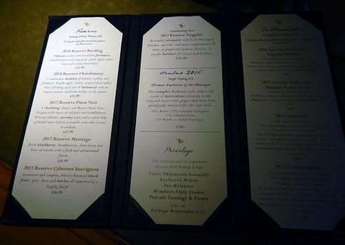 Tasting menu at the Mission Hill Winery