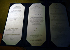 Tasting menu at the Mission Hill Winery