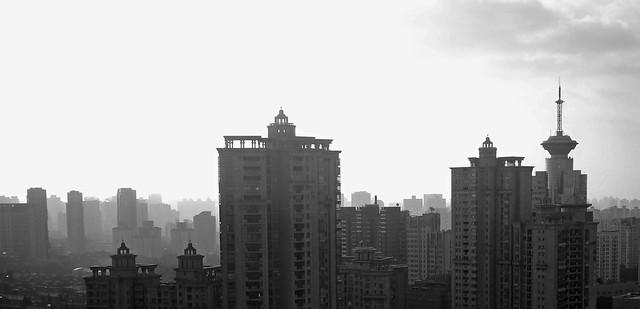 BW urban silhouette, high-rise buildings in Shanghai city