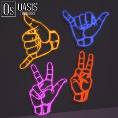 "Oasis: ""Fingers Gestures"" Neon Signs Pack"