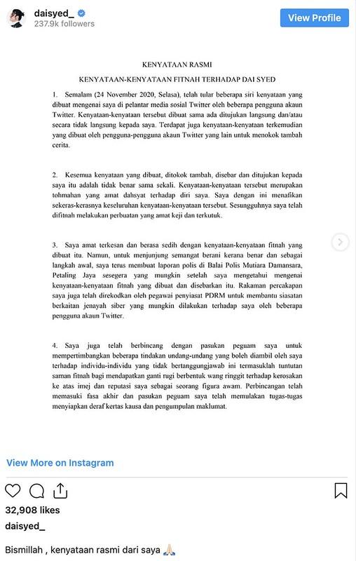 Mahu Saman Tukang Fitnah, Da'i Syed Dapat Sokongan dari Artis