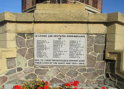 Second World War Names, Coalville War Memorial