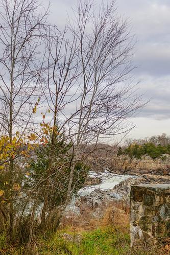 greatfalls virginia unitedstates grass trees potomacriver river sky clouds leaves fall stonewall rocks greatfallsnationalpark