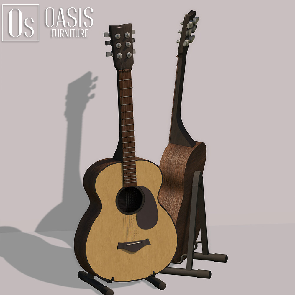 Oasis: Acoustic guitar with stand