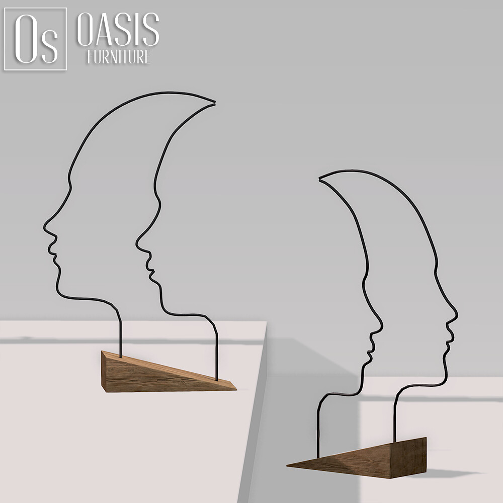 Oasis:  Two in one Faces Sculpture