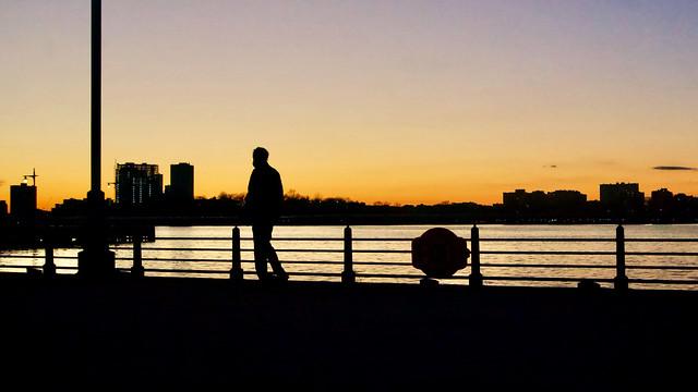 Lonely at Sunset - Hudson River Park, New York City