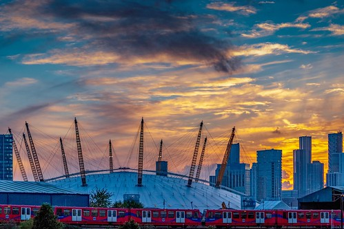 sunset city london england buildings uk britain urban architecture british gb dome train dusk docklands