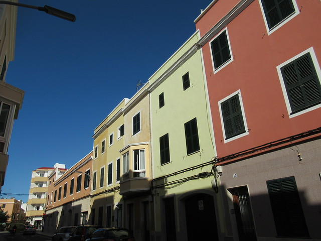 Apartment colors and blue sky, Ciutadella, Menorca, Spain