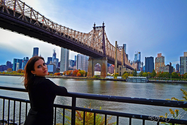 Me + Queensboro Bridge , Roosevelt Island & Midtown Manhattan View from Queensbridge Park Queens New York City NY P00724 DSC_2905