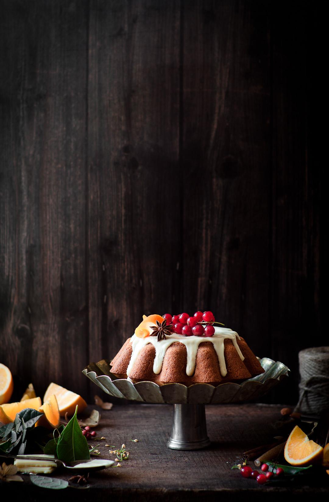 vegan&gluten free orange cake with white chocolate ganache