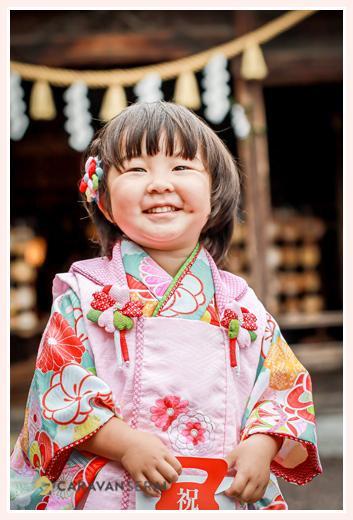 七五三 3才の女の子 水色の着物