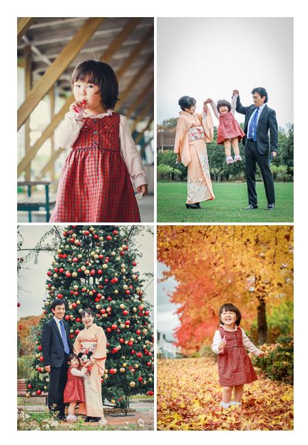 岐阜県の公園で家族写真のロケーション撮影