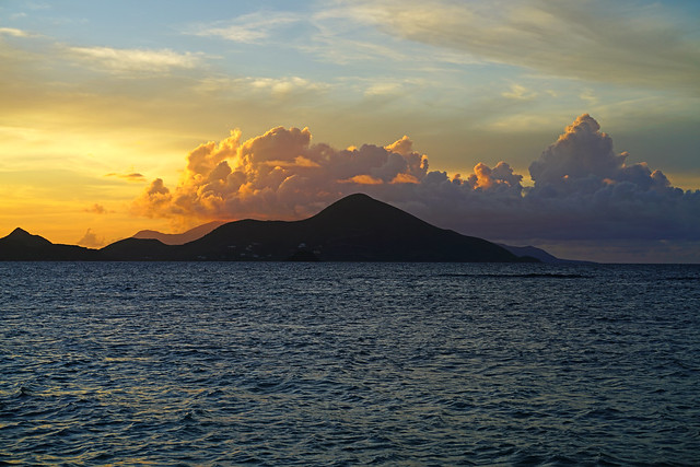 St Kitts silhouette at sunset seen from Nevis