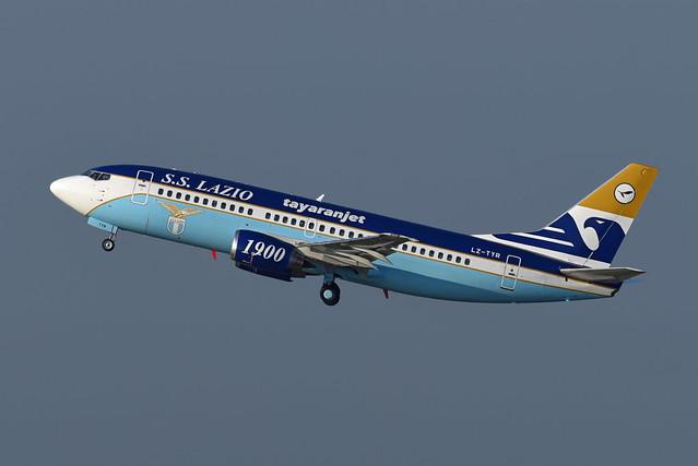 Tayaran Jet Boeing 737-330 LZ-TYR Società Sportiva Lazio Roma livery