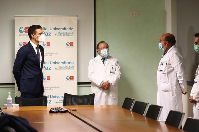 Visita de Pedro Sánchez al Hospital Universitario La Paz (27/11/2020)