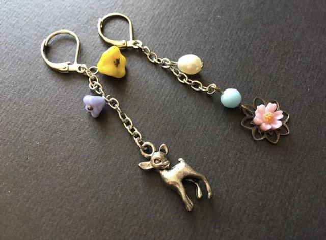 Lovely deer flowers dangly earrings