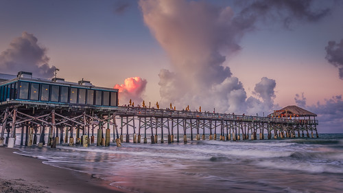 atlantic brevardcounty cocoabeach dusk florida landscape longexposure ocean panorama pier pinkclouds summer sunset travel twilight vacation westgate unitedstates