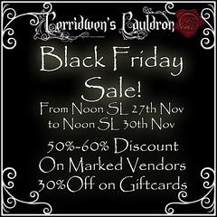 IT'S BLACK FRIDAY AT CERRIDWEN'S CAULDRON!!!
