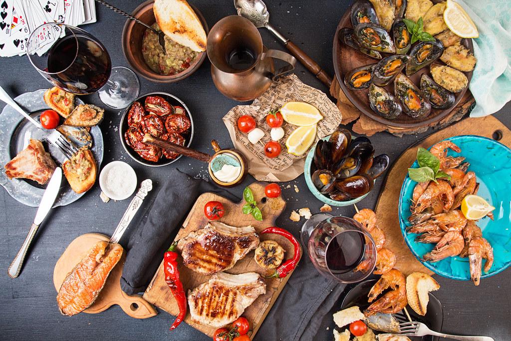Seafood dinner spread
