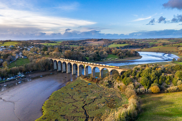 St Germans Viaduct and a train