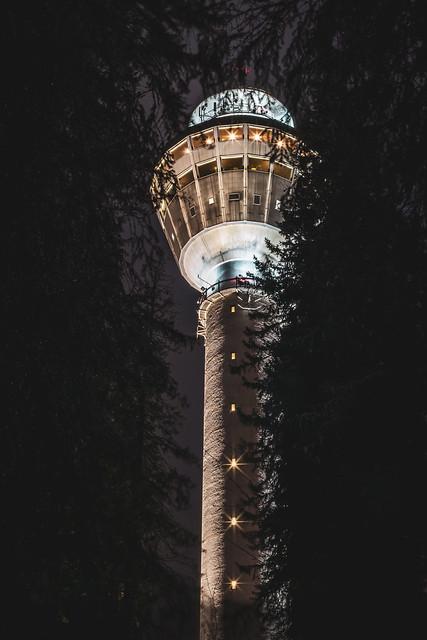 Puijon torni puiden välistä marraskuu 2020