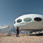 Like a UFO: a small alpine hotel, 2500 m. Dombay, Russia