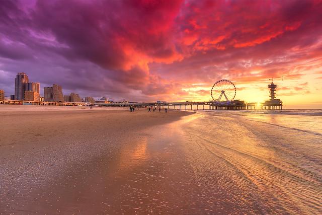 Sunset on Scheveningen Beach