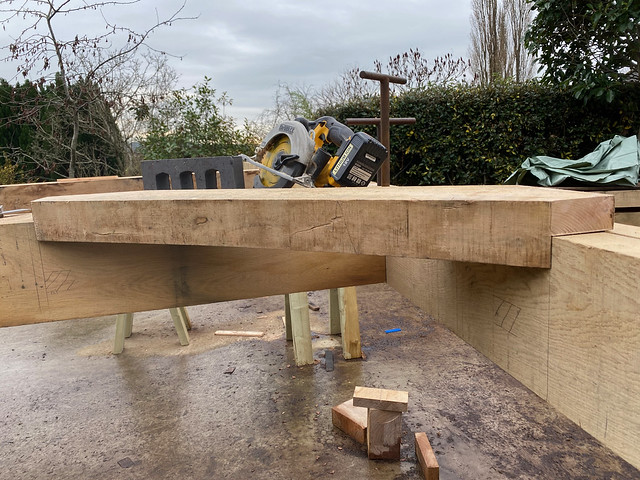 Brace with tenons cut
