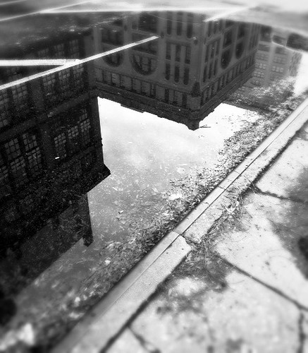 reflections in a dirty puddle...