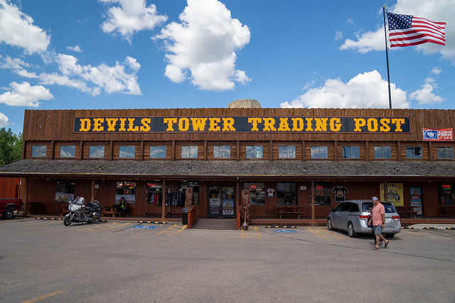 Devils Tower, Wyoming - June 23, 2020: The Devils Tower Trading Post, a gift shop selling groceries and souvenirs right outside of the park