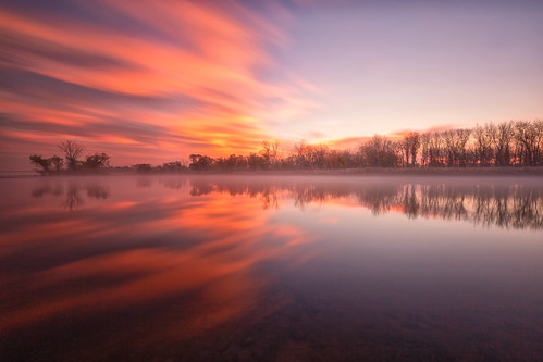 sunrise dawn daybreak clouds trees lake reflections le longexposure mist lakechatfield chatfieldstatepark colorado landscape landscapes