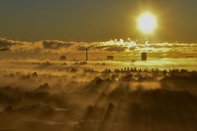 Morning light over Copenhagen and Oresund