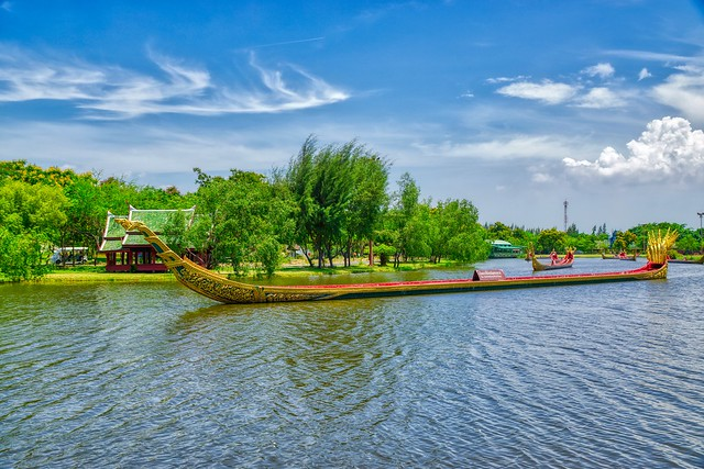 Replica of the Royal Barge procession in a lake in Muang Boran (Ancient City) in Samut Phrakan near Bangkok, Thailand
